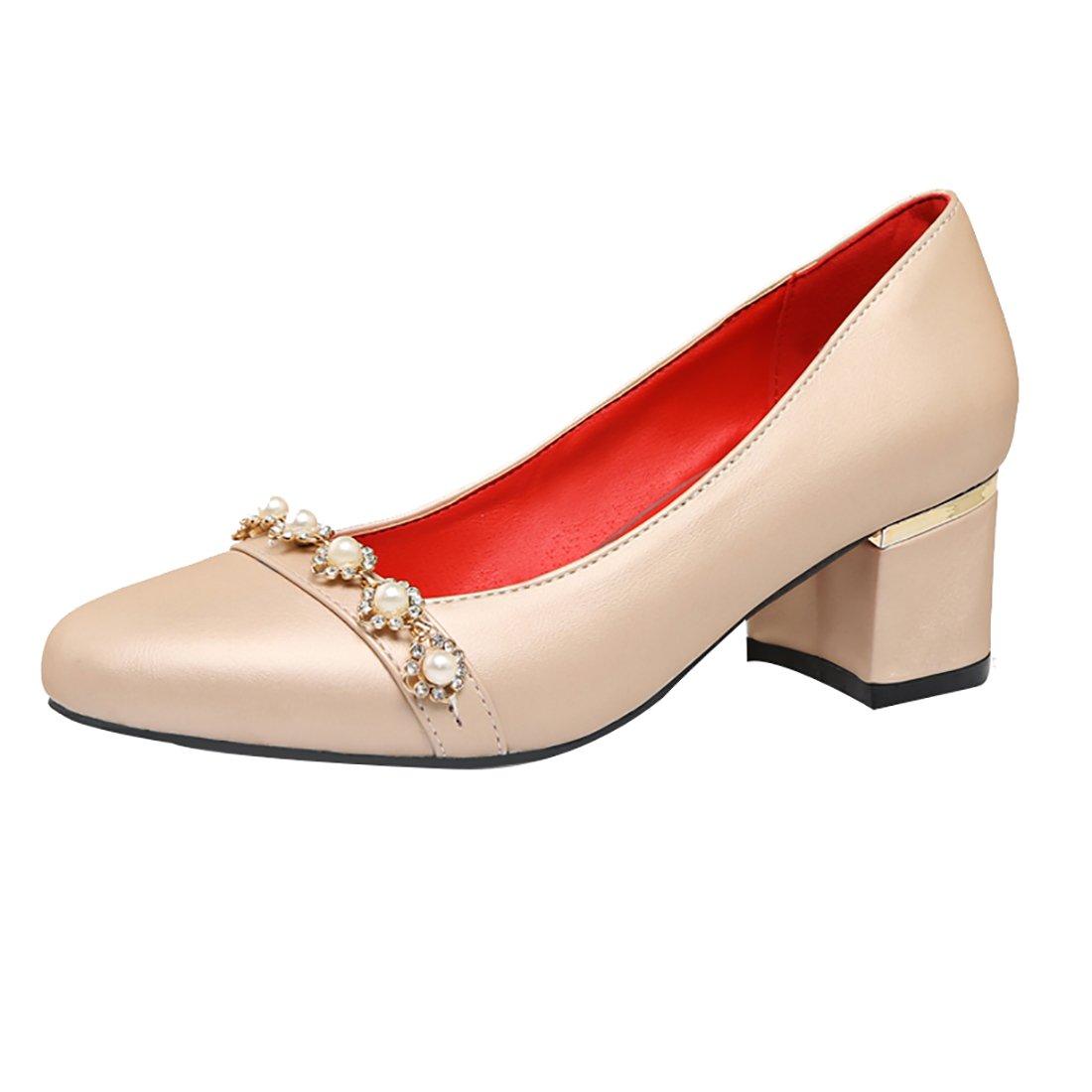 UH Damen Mittlerer Blockabsatz Heel Low Cut Mary Jane Pumps Halbschuhe Modisch Schuhe Xe6f1awU9H
