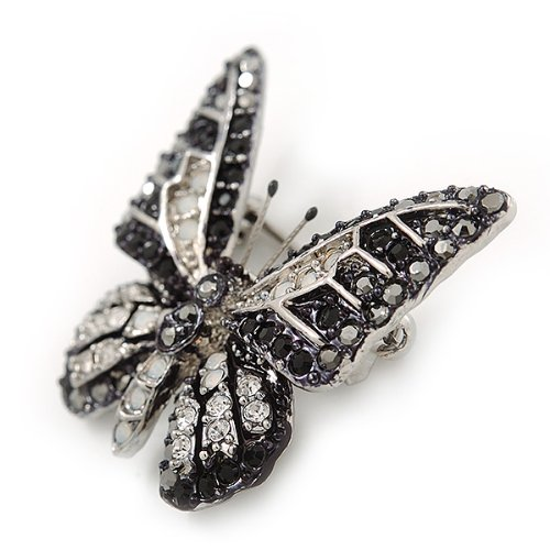 Hematite Avalaya Small Black 30mm Length Clear Austrian Crystal Butterfly Brooch in Rhodium Plating