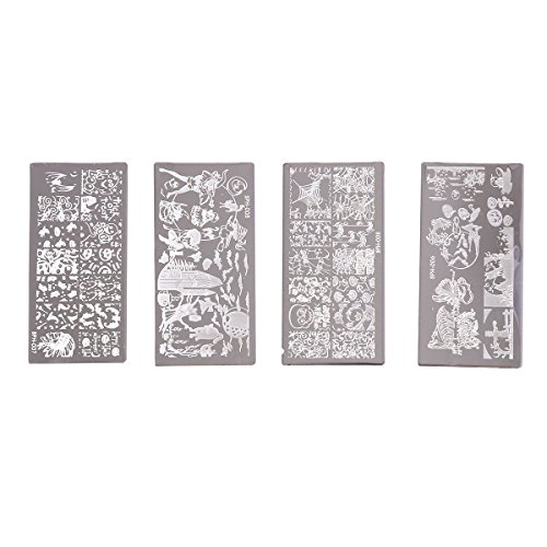 Lurrose 4pcs Halloween Themed Nail Art Stamping Plate in Stainless Steel