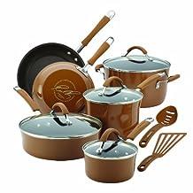 Rachael Ray Cucina Porcelain Enamel Nonstick 12-Piece Cookware Set, Mushroom Brown