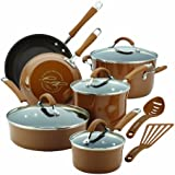 Rachael Ray Cucina Hard Porcelain Enamel Nonstick Cookware Set, 12-Piece, Mushroom Brown