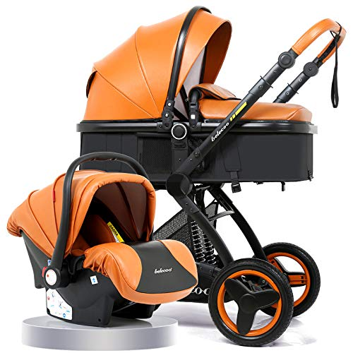 PU Luxury car seat Stroller Baby 3 in 1 Baby 2 in 1 Baby Safe Folding Stroller Chair for Dolls Accessories
