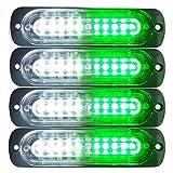 Primelux 4-Pack 4.4-Inch 10 LED Ultra Slim Strobe LED Lighthead External Emergency Grille Surface Mounting Lights(Green/White)