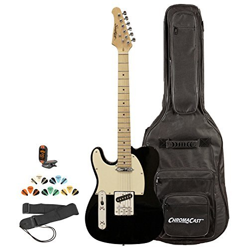 (Sawtooth ST-ET-LH-BKW-KIT-2 Left Handed Electric Guitar, Black with Aged White Pickguard)
