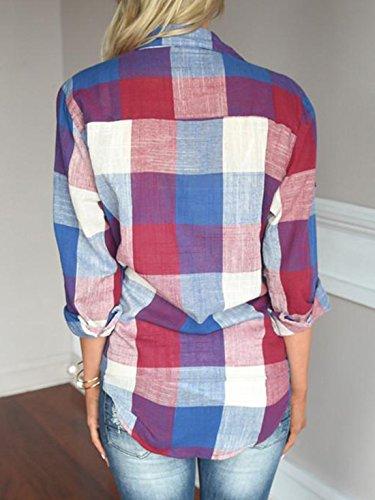 Blouses Hauts Revers Tee Shirts Printemps Chemises Femmes Chemisiers Tops Grille Mode Imprime Longues Manches Automne Rouge et SqwS8pz