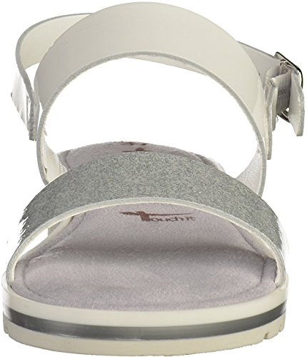 Tamaris Damen Sandaletten Weiß/Silber Weiß(Weiß/Silber)