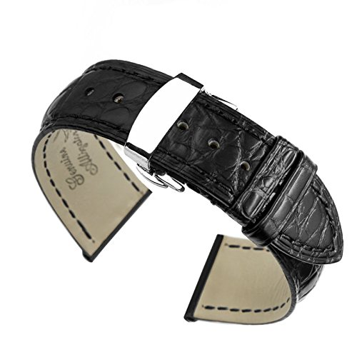 20mm Black High-end Crocodile Leather Watch Straps/Bands Replacement Handmade for Luxury Watches