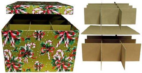 Medium Two Layer Candy Cane Christmas Decoration Storage Box Y3A