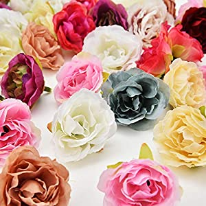 Fake flower heads in bulk wholesale for Crafts Cherry Blossoms Peony Silk Artificial Flower Wedding Party Home Room Decoration Marriage Shoe Hats Accessories Handmade Craft 30pcs 4cm 50