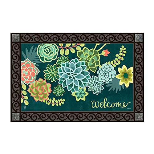 Studio M MatMates Boho Succulents Spring Summer Decorative Floor Mat Indoor or Outdoor Doormat with Eco-Friendly Recycled Rubber Backing, 18 x 30 ()
