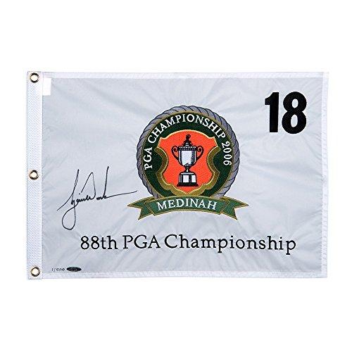 TIGER WOODS Autographed 2006 PGA Championship Pin Flag UDA LE ()
