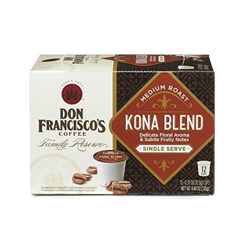 Don Francisco's Kona Blend, Premium 100% Arabica Coffee Beans, Medium Roast, Single Serve Pods for Keurig, Family Reserve, 12 Count