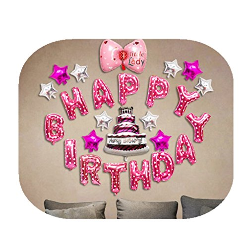 happinesssale Happy birthday foil balloons banner, letters stars butterfly shaped party celebration decorations (Halloween Party Letter For Parents)