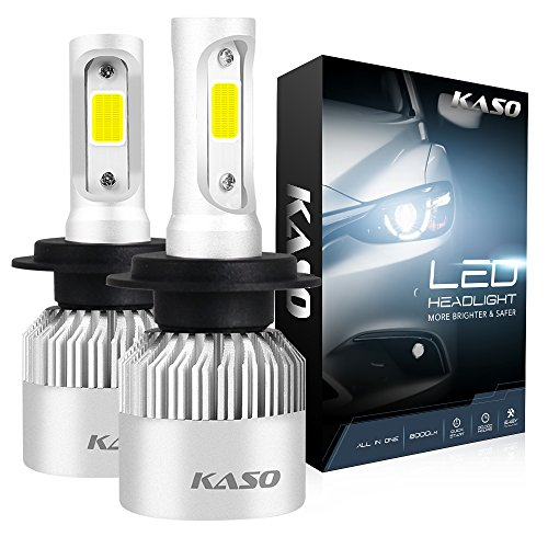 H7 LED Headlight Bulbs - KASO All-in-One Conversion Kit 8000LM 72W/Set 6500K Cool White Highly Waterproof 3 Years Warranty (H7)