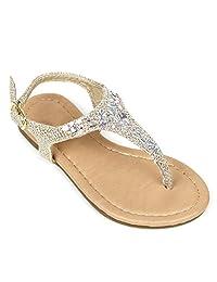 Girls Kids T Strap Gladiator Strappy Rhinestone Glitter Flip Flops Sandals