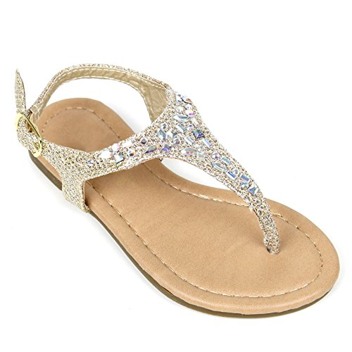 Girls Kids T Strap Gladiator Strappy Rhinestone Glitter Flip Flops Sandals (3, Gold)