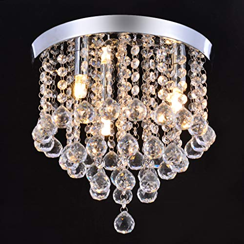 Crystal Raindrop Chandelier - Modern Hanging Linear Round Island Lighting Fixture - Ceiling Pendant Lamp LED Home Decor 3 Lights G9 - Flush Mount H11.8