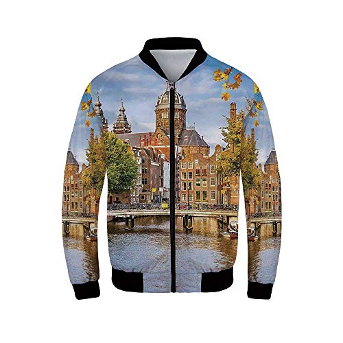 Cityscape Men's Long Sleeve Jacket,Canal and Old Church in Netherlands Traditional Romantic Scene of The Europe Home for Sportswear,XS (Netherlands Jacket Track)