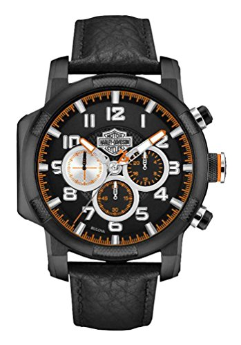 Harley-Davidson Mens Six Hand Chronograph Bearing Cap Piston Design Black Watch