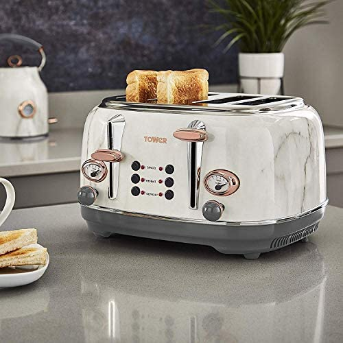 Tower Rose Gold White Marble Kitchen Appliance Retro Stylish Set - Digital 20L Microwave, Rose Gold White Marble 1.7L Bottega Kettle & Bottega 4 Slice Toaster