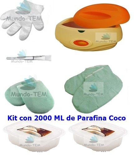 mundo-tem ® Scalda Paraffina fornello + Kit completo, 2000ml paraffina di cocco, regalo: Manuale breve per il trattamento della paraffina. Mundo-TEM®