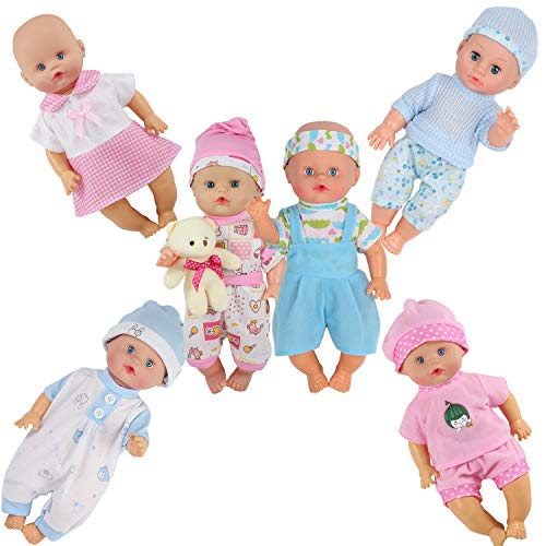 Dressbar 6pcs for 10-11-12 Inch Baby Doll Clothes Outfits Reborn Newborn Costumes with Bear Doll Birthday Xmas Gift Wrap from Dressbar