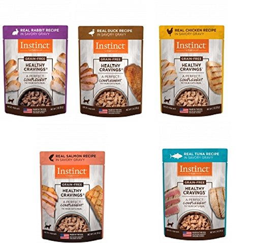 Nature's Variety Instinct Healthy Cravings Grain-Free Meal Topper for Cats Variety Pack, 5 Flavors (2 of Each - Chicken, Duck, Rabbit, & Salmon and Tuna), 3 oz Pouch, 10 Total Pouches