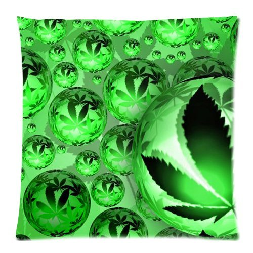 Marijuana Weed Cannabis Zippered Pillow Cases Cover Cushion Case 18x18 Inch