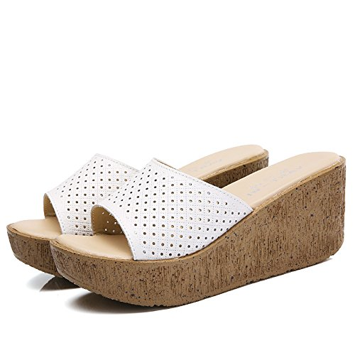Sandalias 38 AJUNR bizcochos 37 de y expuesto elegante Transpirable zapatos blanco mujer 7cm relajante cómodo salvaje Moda pendiente con zapatillas rr6qHAtWw