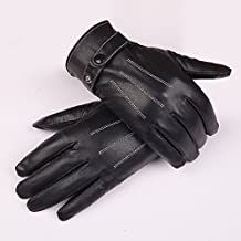 @LIU-Driving gloves men's thermal/Palm touch genuine leather/Sheepskin gloves