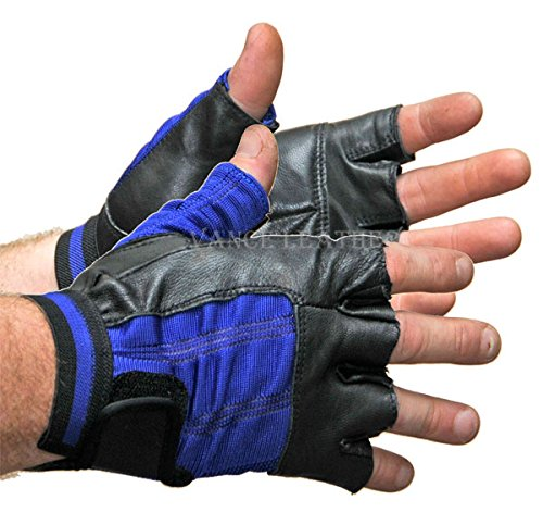 Spandex and Leather Fingerless Gloves-Black/Blue