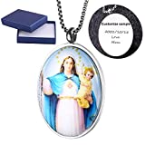 Comfybuy Madonna and Child Virgin Mary Mother of Jesus Medal Dome Necklace Pendant Free Engraving Customized Personalized Prayers Church Blessed Gift For Mother,Daughter,Wife,Girlfriend