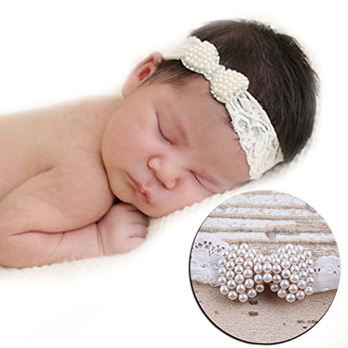 Parit Girl Princess Bowknot Newborn Baby Hairband Toddler Kid Headwear Pearl Headband Hair (Cute Clown Costume Diy)