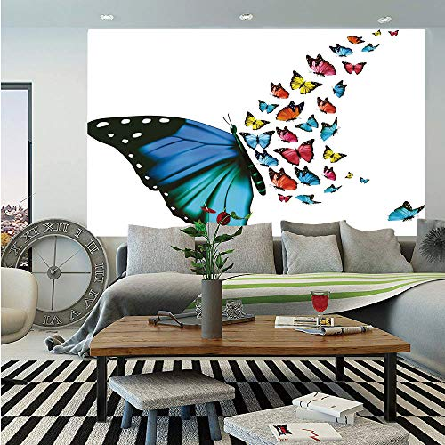 SoSung Butterfly Wall Mural,Creative Conceptual Artwork Monarch Wings Colorful Realistic Natural Wildlife,Self-Adhesive Large Wallpaper for Home Decor 83x120 inches,Multicolor