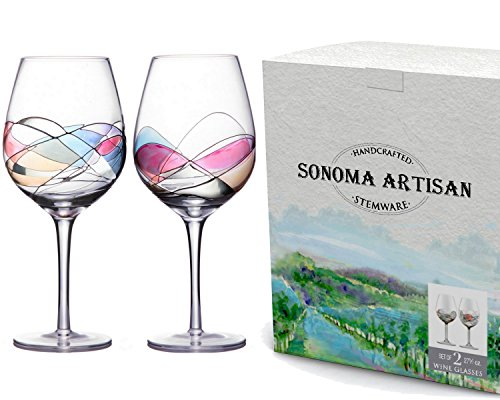 Handcrafted and Painted Wine Glasses by Sonoma Artisan, Set of 2. Ideal for Entertaining, a Unique Gift Idea, Romantic Night in or Just Elevating Your Wine Enjoyment