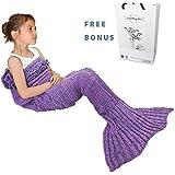 Mermaid Tail Blanket, Amyhomie Mermaid Crochet Blanket for Adult and Kids, All Season Sleeping Bag (Kids, Purple)