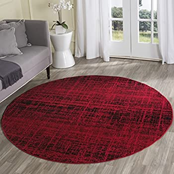 Safavieh Adirondack Collection ADR116F Red and Black Modern Abstract Round Area Rug (4 Diameter)