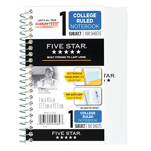 "043100454847 - Five Star Personal Spiral Notebook, 7"" x 4 3/8"", 100 Sheets, College Rule, Assorted colors (45484) carousel main 12"