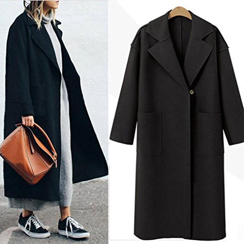 Black Womens HARRYSTORE Parka Jacket Outwear Overcoat Cardigan Lapel Collar Ladies Overcoat Turn Coat Long B Down Winter wRgRZHq