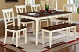 6 pc Erin II collection cream finish wood legs and cherry finish wood tops dining table set with wood top seats Review