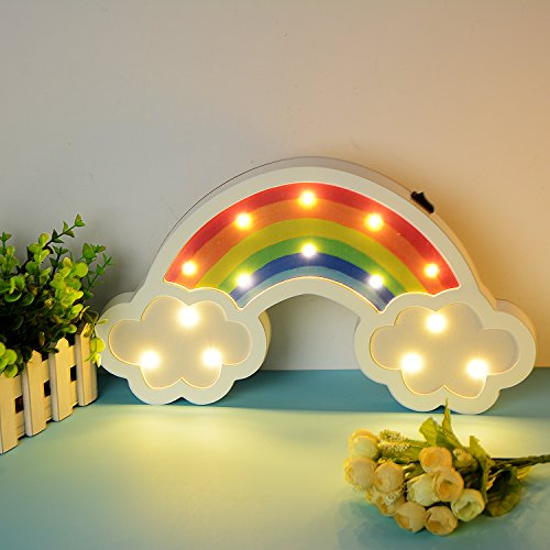 Rainbow Marquee Sign Led Night Light Takefuns Battery Operated Wall Light Decorative Bedsides Lamp for Girls Boys Christmas Home Decor(Rainbow) by Takefuns (Image #3)