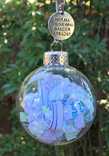Graduate Gift | Rescued Vintage Travel Maps Glass Globe Ornament Not all that Wander are Lost by Dorinta Gift Boxed (Suitcase Ornament)