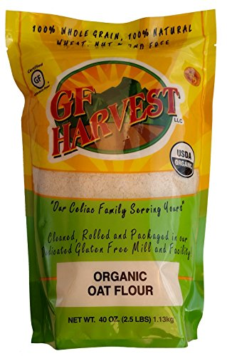 Gluten Free Harvest Certified Organic Whole Grain Oat Flour, Non GMO, 2.5 lb. Bag