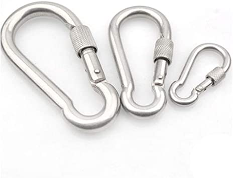 M4~M12 New 304 Stainless Steel D Shape Screw Lock Carabiner Clip Snap Hook Ring