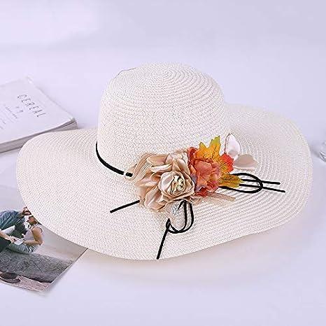 Sombrero de Paja Visera de Playa Femenina Padre-Hijo Madre e Hija Guirnalda Sombrero de Paja Grande Sombrero de Sol de Vacaciones código de Uniforme Blanco