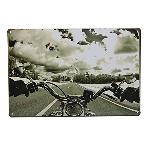 Road Motorcycle Tin Sign Vintage Metal Plaque Bar Pub Wall - Stores City Outlet Texas