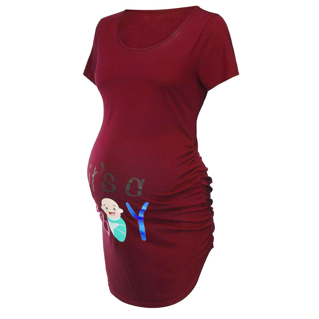 Toponly Women's Short Sleeve Solid Print Summer Maternity Nursing Tops Breastfeeding T-Shirt Wine by Toponly women T-shirt (Image #3)