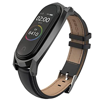 AHANGA Correa para Mi Band 4 Xiaomi Mi Band 3 Correas, Cuero Piel Pulseras Dermis Pulsera Brazaletes Wristband Repuesto Bandas Reemplazo Pulserade ...