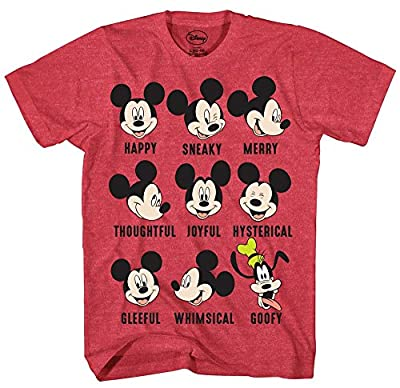 Disney Mickey Mouse Goofy Expressions Mood Disneyland World Funny Humor Pun Mens Adult Graphic Tee T-Shirt