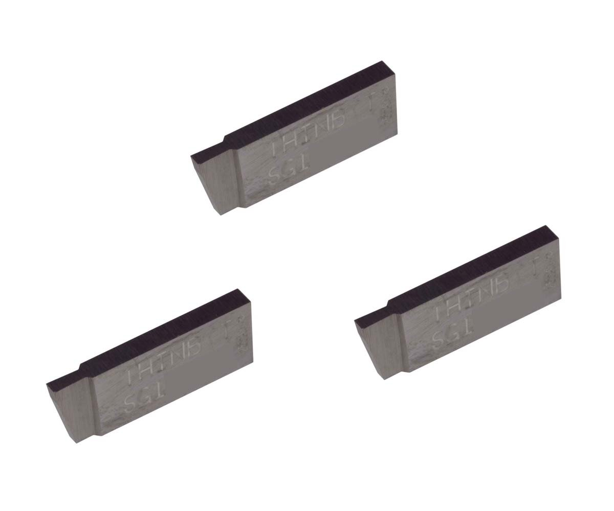 Grooving Insert for Steel Sharp Corner THINBIT 3 Pack SGI053D2 0.053 Width 0.100 Depth Cast Iron and Stainless Steel with Interrupted Cuts Uncoated Carbide